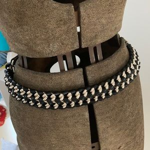 REISS genuine leather and chain Belt
